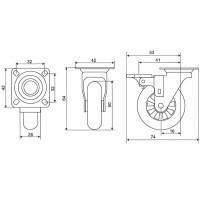 EMMA Колесо с тормозом хром глянец/транспарент