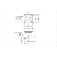 Колесо d=35 Н.51 с тормозом MC.035.01A.CH-F